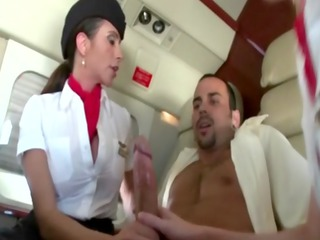 femdom milfs sucking their passenger during his